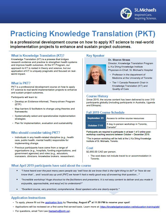 Practicing Knowledge Translation (PKT) | Knowledge Translation Program