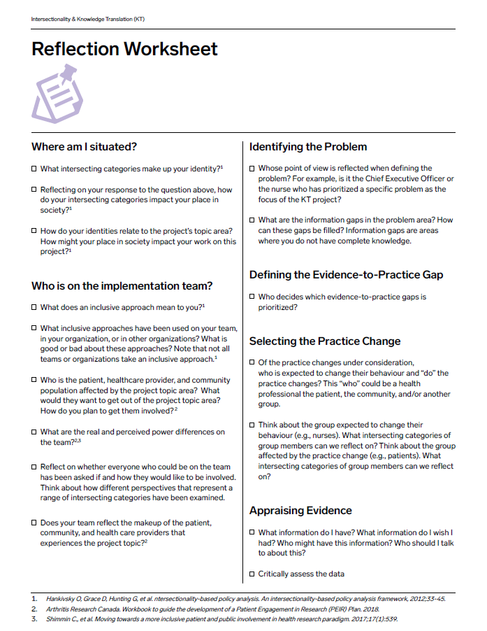 Intersectionality & Knowledge Translation Reflection Workbook one-pager
